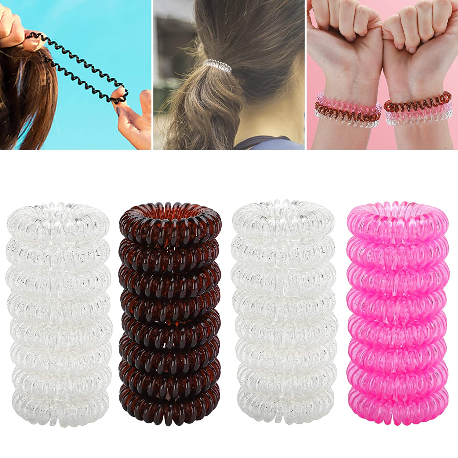 Grobro7 32 Pack Bracelet Hair Ring Elastics Ties, Clear Suitable Invisible Ponytail Holder Spiral Coil No Traceless Rubber Hair Bands, Waterproof Phone Cord Hair Rings with 3 Colors