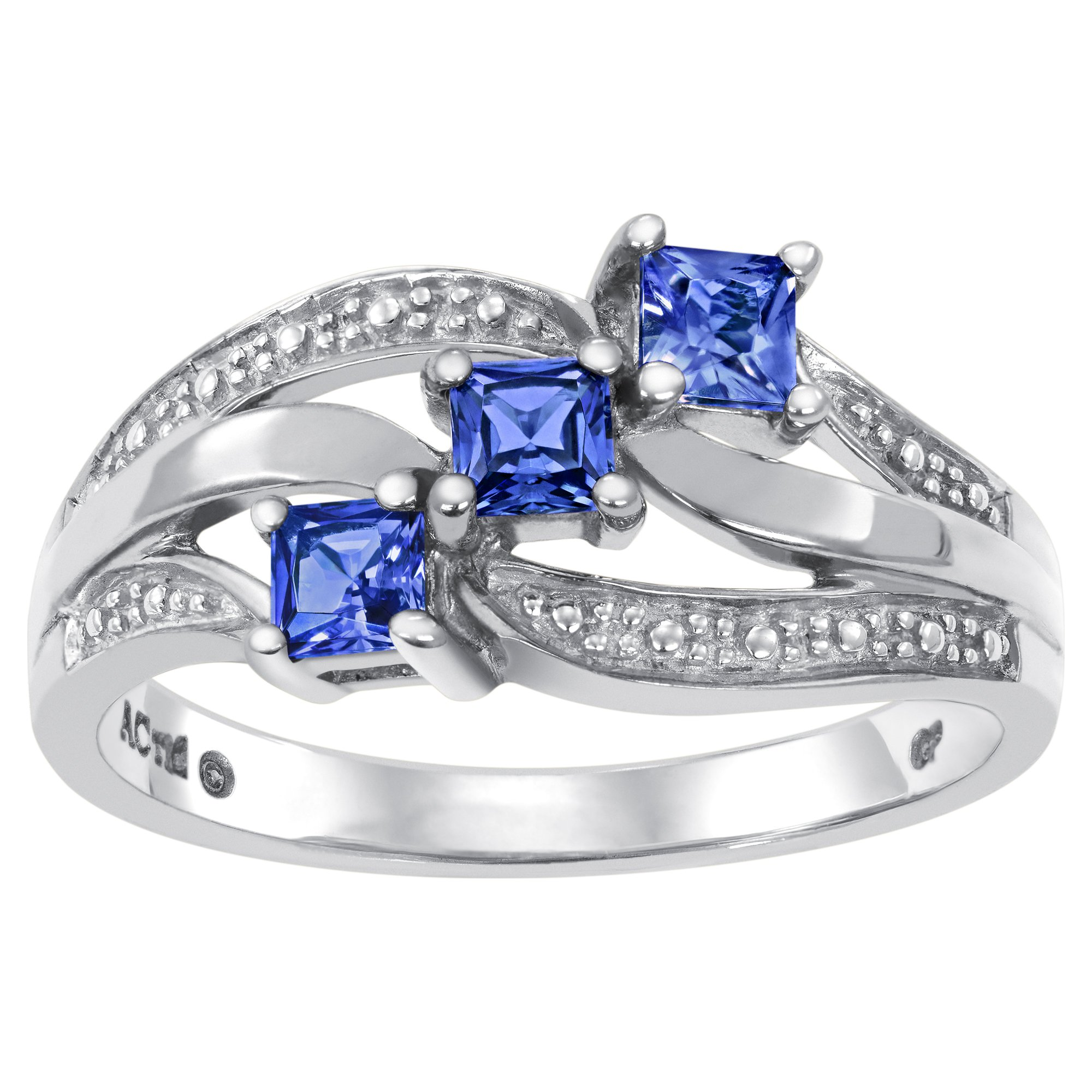 ArtCarved Open Rose Simulated Sapphire September Birthstone Ring, Sterling Silver, Size 8.5
