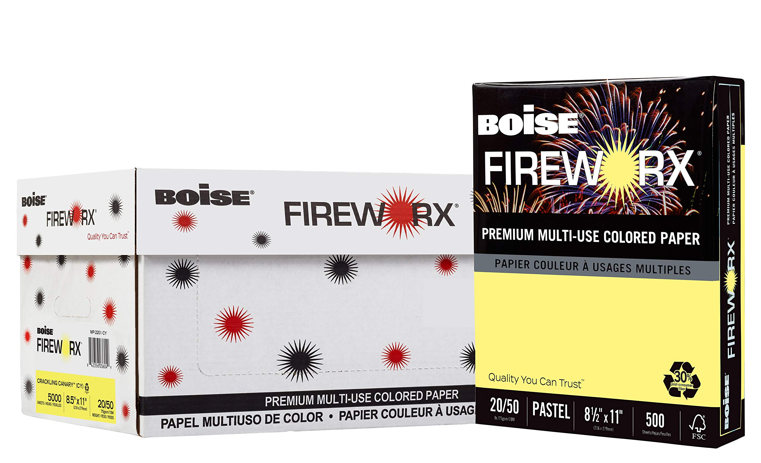 BOISE FIREWORX Premium Multi-Use Colored Paper, 8.5 x 11, Crackling Canary Yellow, 20 lb, 10 ream carton (5,000 Sheets) by Boise Paper