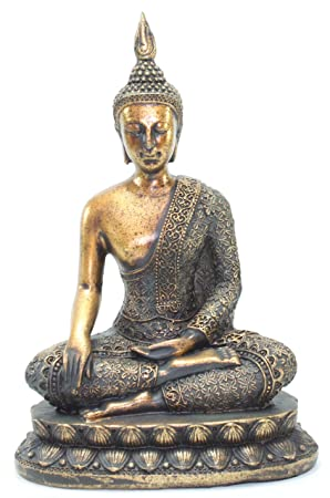 Feng Shui 8.5 H Thai Earth Touching Shakyamuni Meditating Buddha Figurines Peace Luck Prosperity Statues Paperweights Home Decor Housewarming Gift G16517 We Pay Your Sales Tax