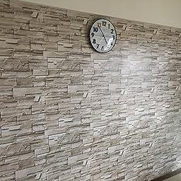 Amazon Co Jp Haokhome 石のレンガの壁のステッカー 壁紙 防水 ライトグレー 45cmx6m 貼ってはがせる かんたんタイル 貼付シールタイプ 家の装飾 Diy 工具 ガーデン