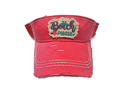 41500873 Spirit Caps Embroidered Beach Please Frayed Patch Washed Coral/Pink ...