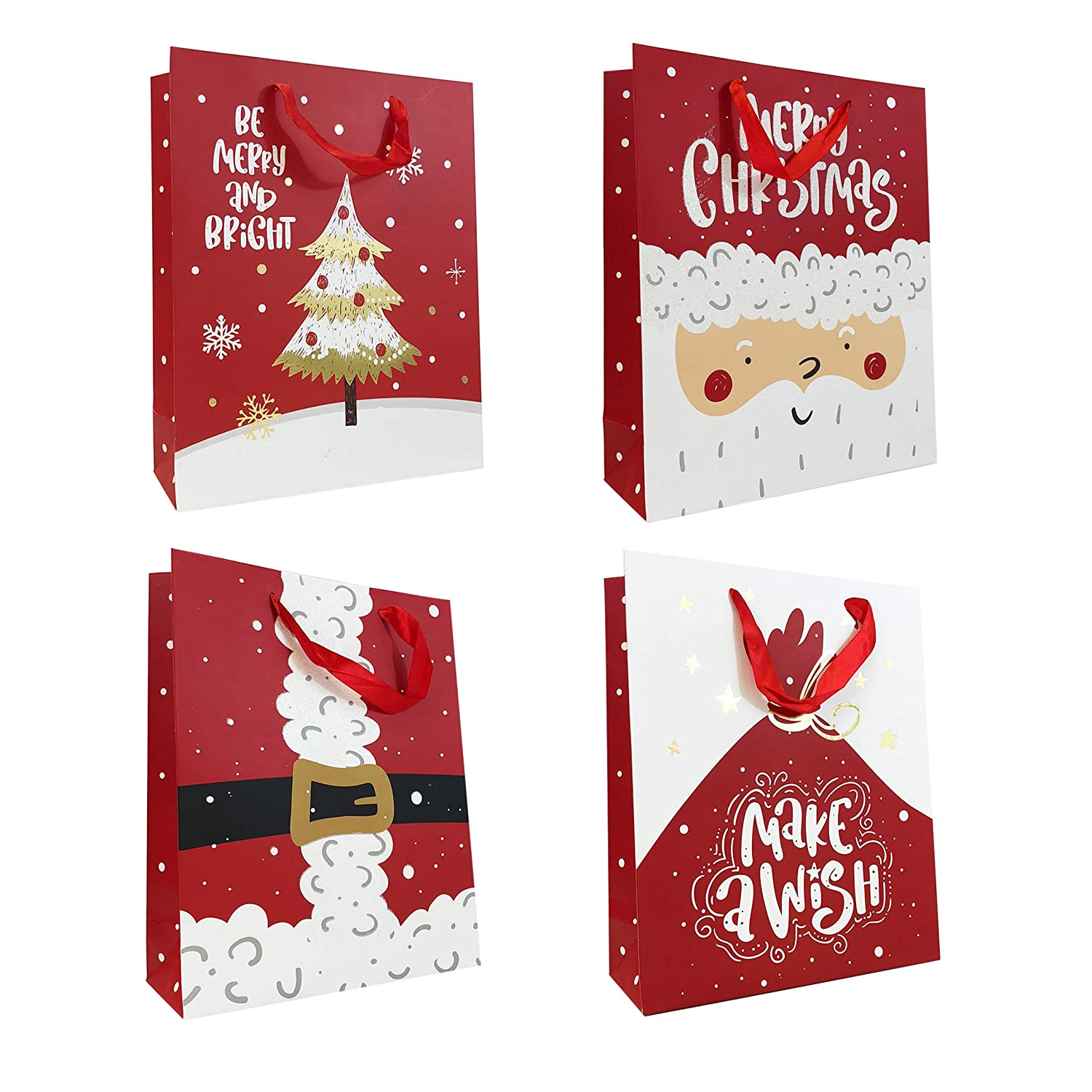 Allgala 12-Pack Christmas Gift Bags, 13' Foil Stamping 13 Foil Stamping
