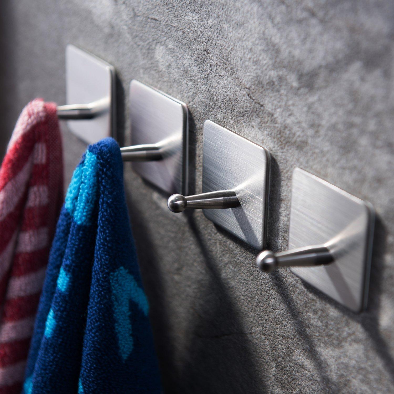 Taozun 3M Towel Hooks Self Adhesive Hook Bath Coat Robe Hooks Bathroom Kitchen Hooks Hand Dish Key Stick on Wall SUS 304 Stainless Steel, 4 Pack