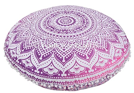Copri cuscino Pom Pom Outdoor Pouf rotondo Boho Pouf Federe decorative Cuscino indiano Ombre Mandala Cuscino da terra rotondo grande