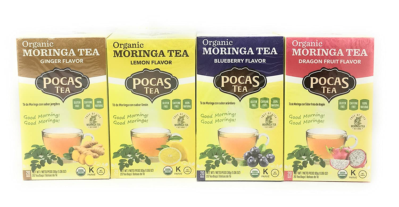 Pocas Organic Moringa Tea (Four Flavor Bundle)