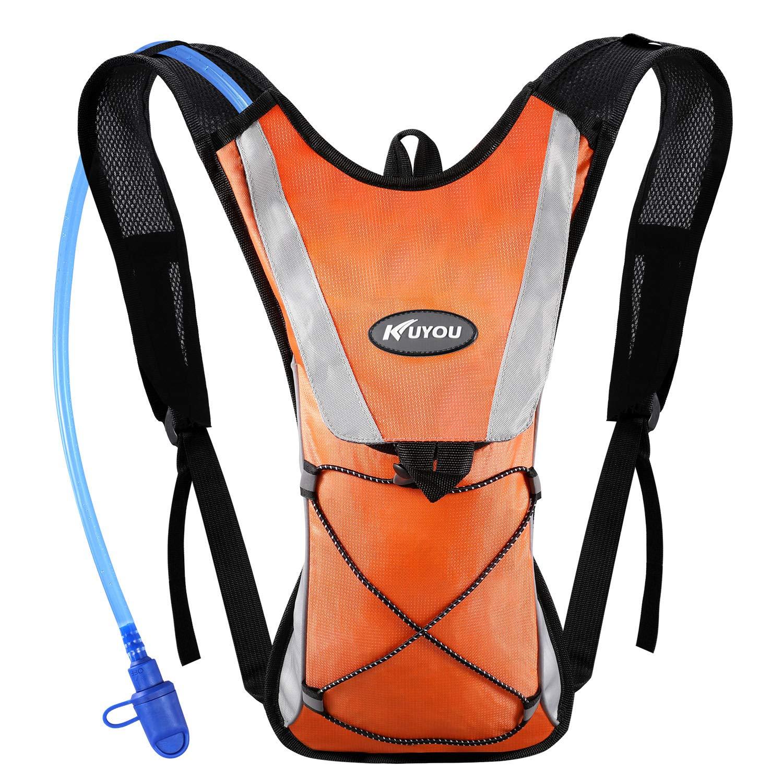 KUYOU Hydration Pack Water Rucksack Backpack Bladder Bag Cycling Bicycle Bike/Hiking Climbing Pouch + 2L Hydration Bladder,(Orange+Water Pouch) by KUYOU