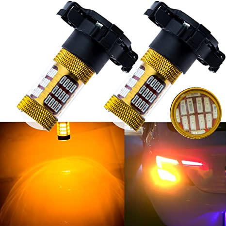 0dcd75b1c1cd Amazon.com  Xotic Tech 2X Amber Gold Error Free PY24W 5200s 60-SMD LED for  Audi BMW Land Rover Front Turn Single Lights  Automotive
