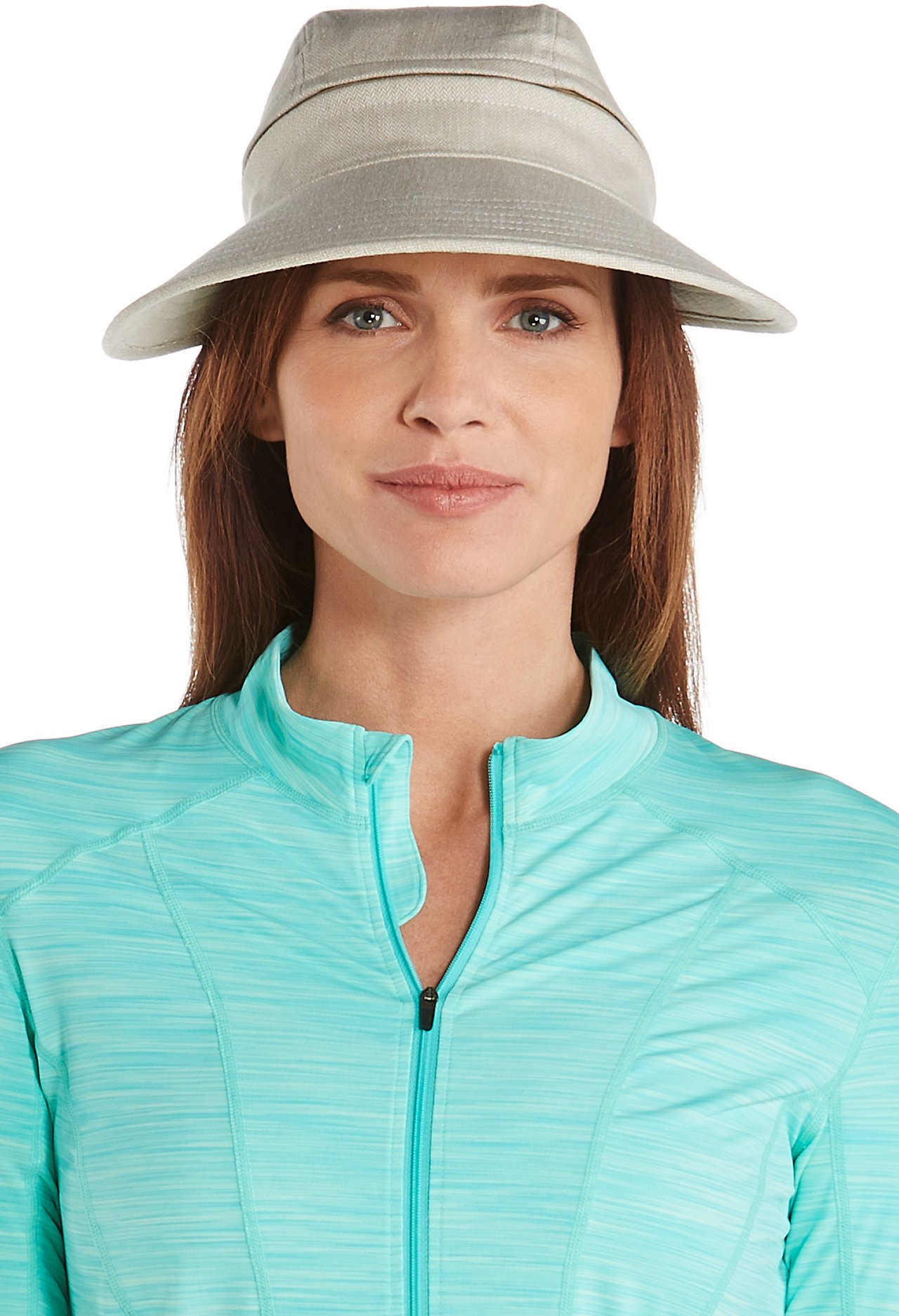Coolibar UPF 50+ Women's Bel Aire Zip-Off Sun Visor - Sun Protective (One Size- Natural Herringbone) by Coolibar (Image #2)