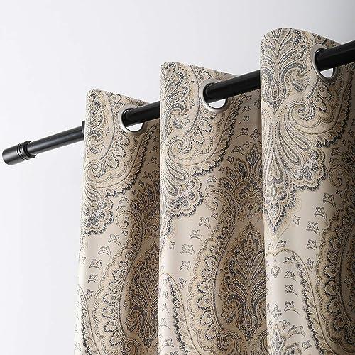 VOGOL Paisley Decorative Print Damask Pattern Curtains