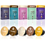 50 Nespresso Compatible Coffee Capsules, 100% Fair Trade | Gourmesso Flavor Bundle | Includes Vanilla Caramel Chocolate Hazelnut Coconut Flavored Espresso Capsule Variety Pack