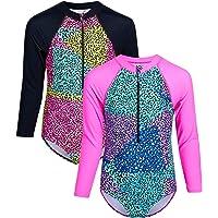 Limited Too Girls' Rashguard - One-Piece Long Sleeve Rashguard Swimsuit (2 Pack) (Little Girl/Big Girl)