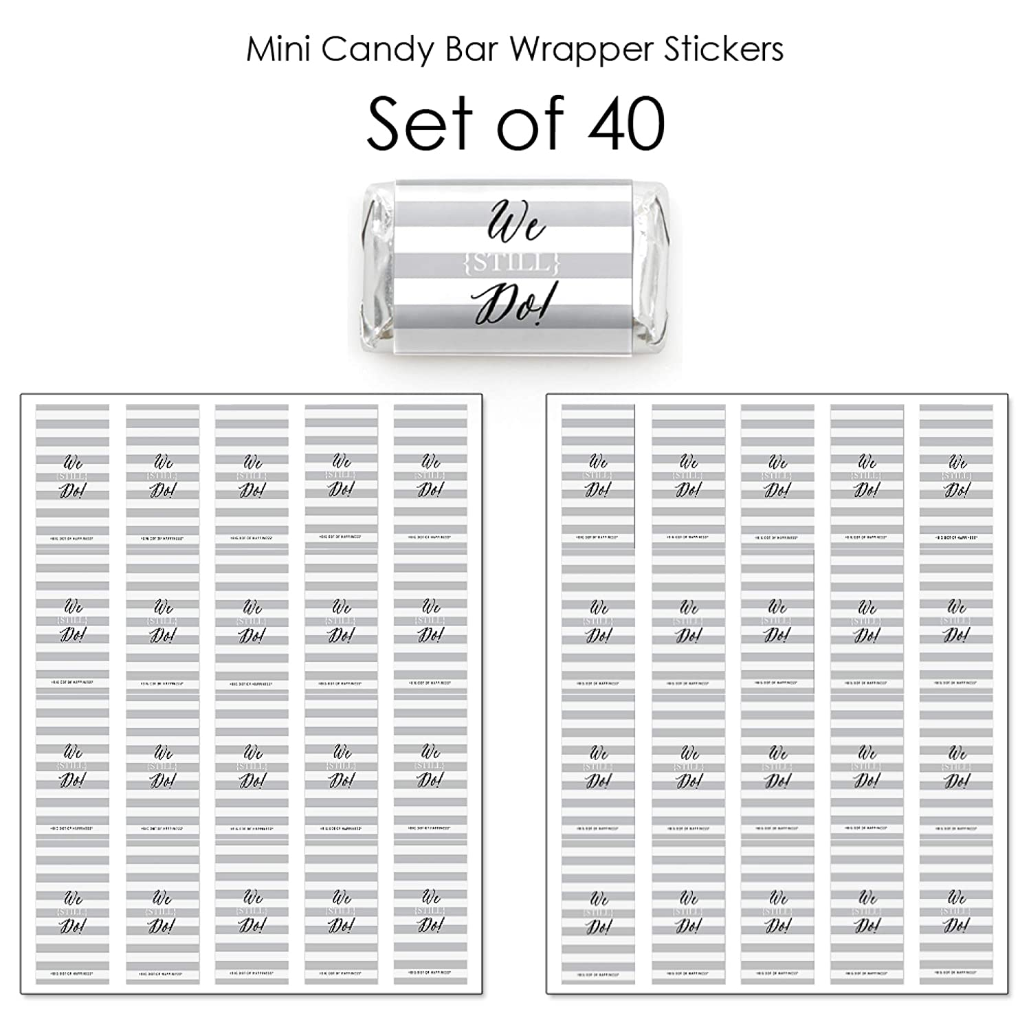 40 Count We Still Do Anniversary Party Small Favors Mini Candy Bar Wrapper Stickers Wedding Anniversary