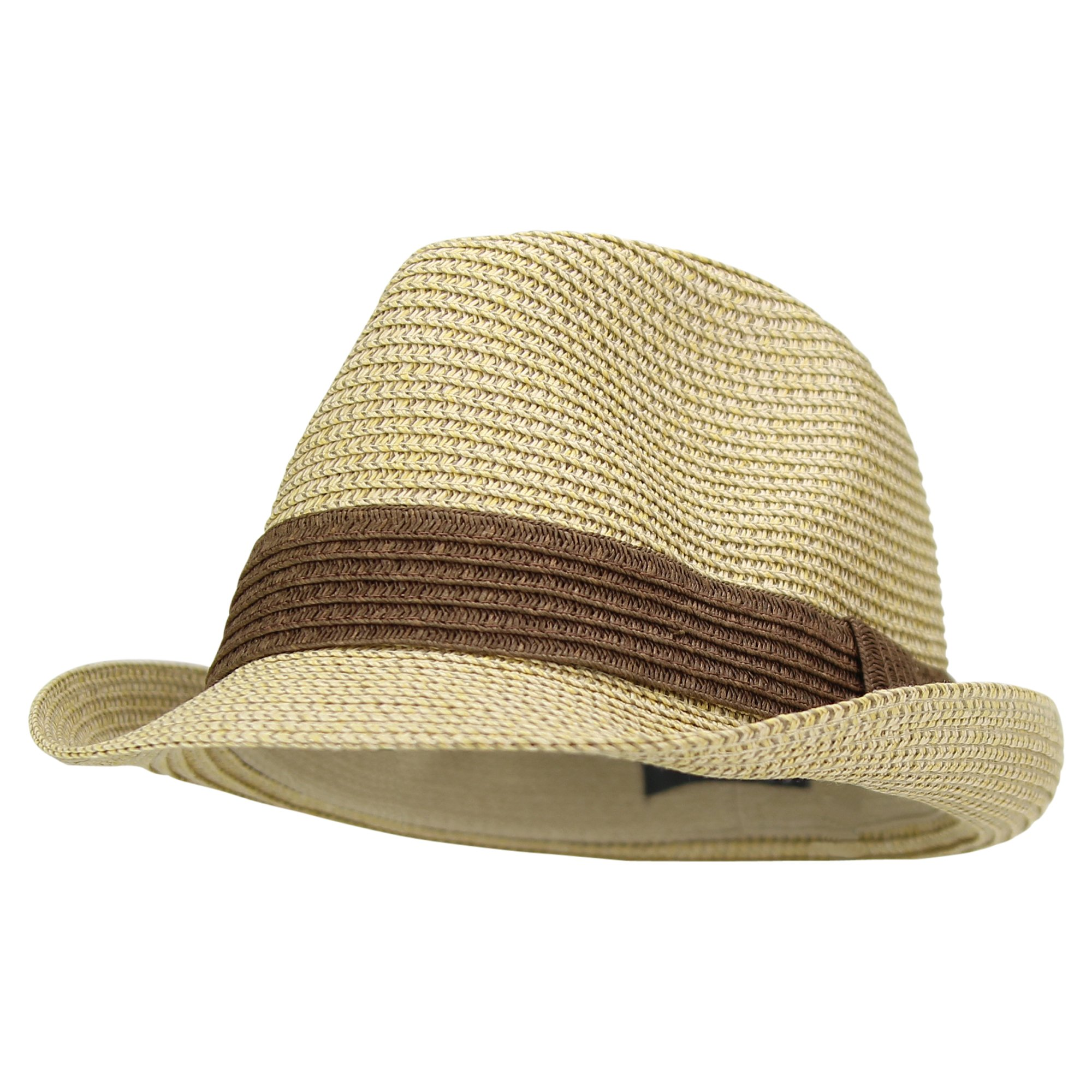 Urban Boundaries Women's Stretch Fit Paper Straw Fedora Hat (Brown)