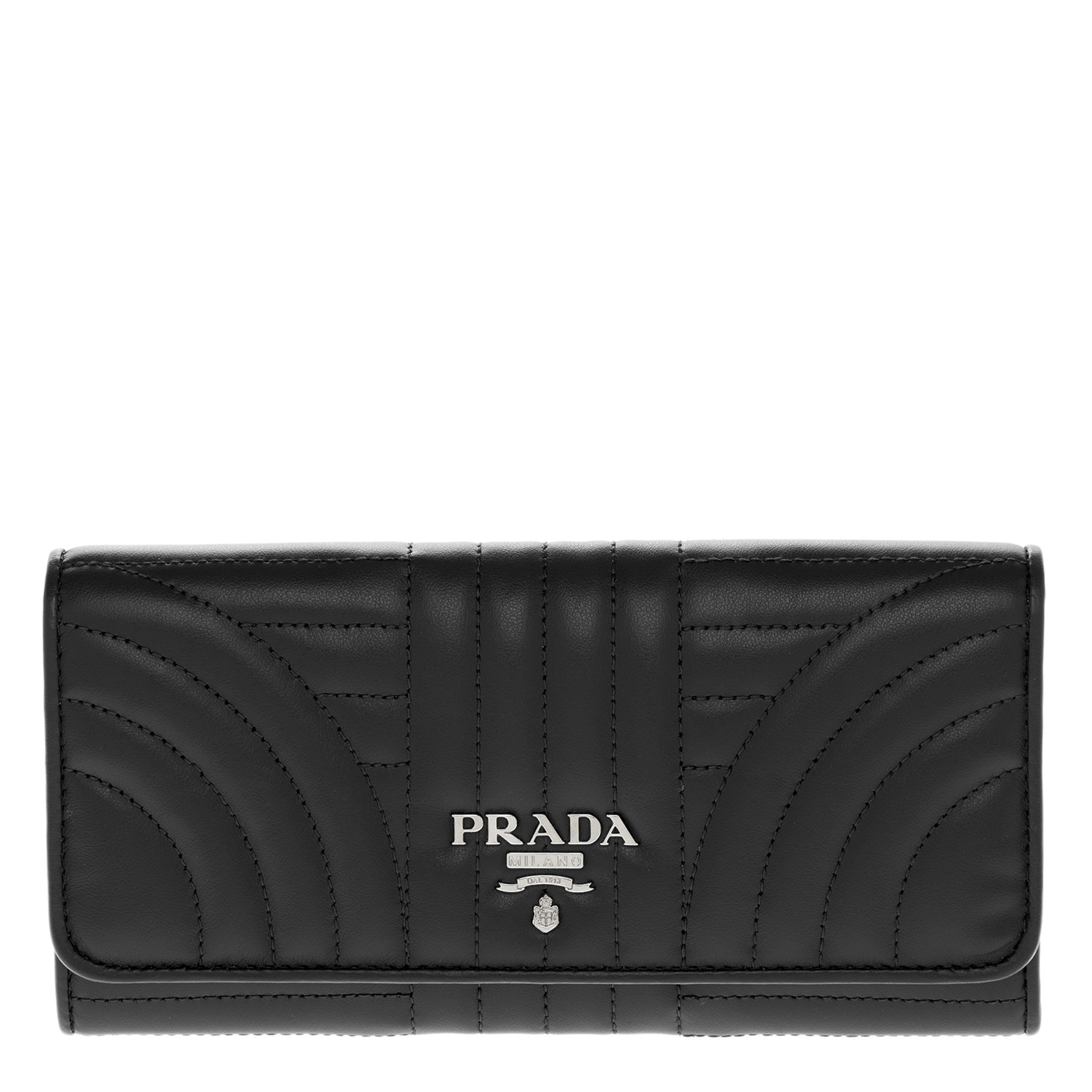 Prada Women's Quilted Calf Leather Wallet Black