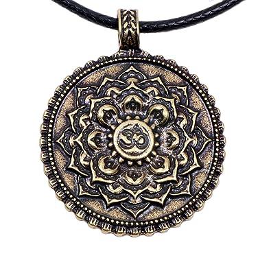Paw House Om Lotus Mandala Necklace Pendant Yoga Tibetan Buddhism Gift Meditation Inspired Bohemian
