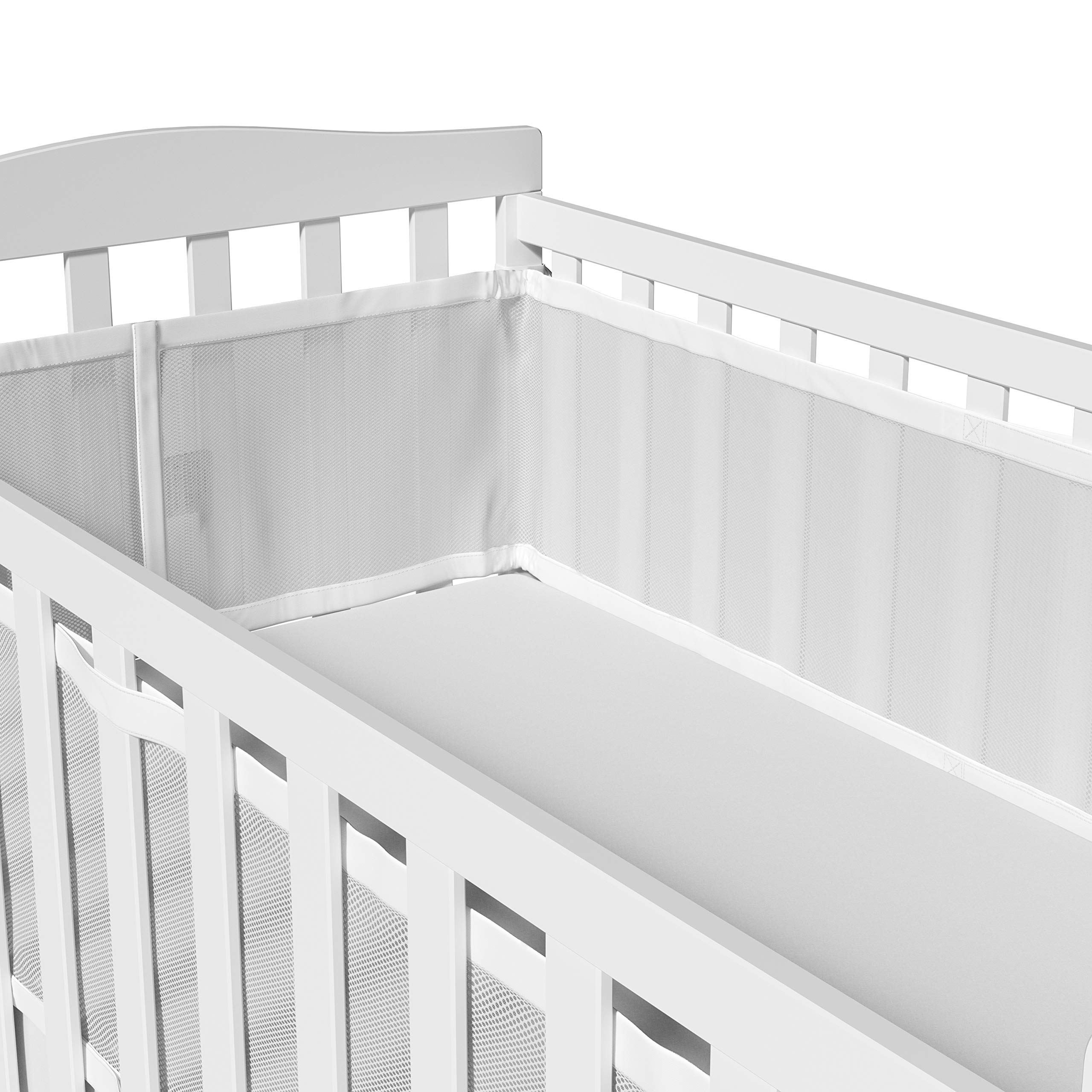 Breathable Crib Bumper White Mesh Crib Bumper for Full-Size Crib Breathable Mesh Crib Liner