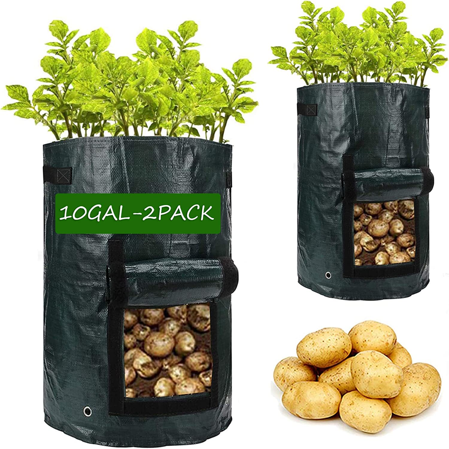 7 Gallon Ribukat 4 Pack Potato Grow Bags Gardening Plant Growing Bag with Window Handles /& Flap Bottom Holes Tomato Carrot Vegetable Planter Container for Planting Strawberries Vegetables
