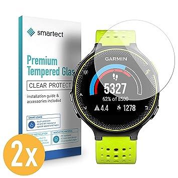 smartect 2X Protector de Pantalla de Cristal Templado para Garmin Forerunner 230 Lámina Protectora Ultrafina de 0,3mm | Vidrio Robusto con Dureza 9H y ...