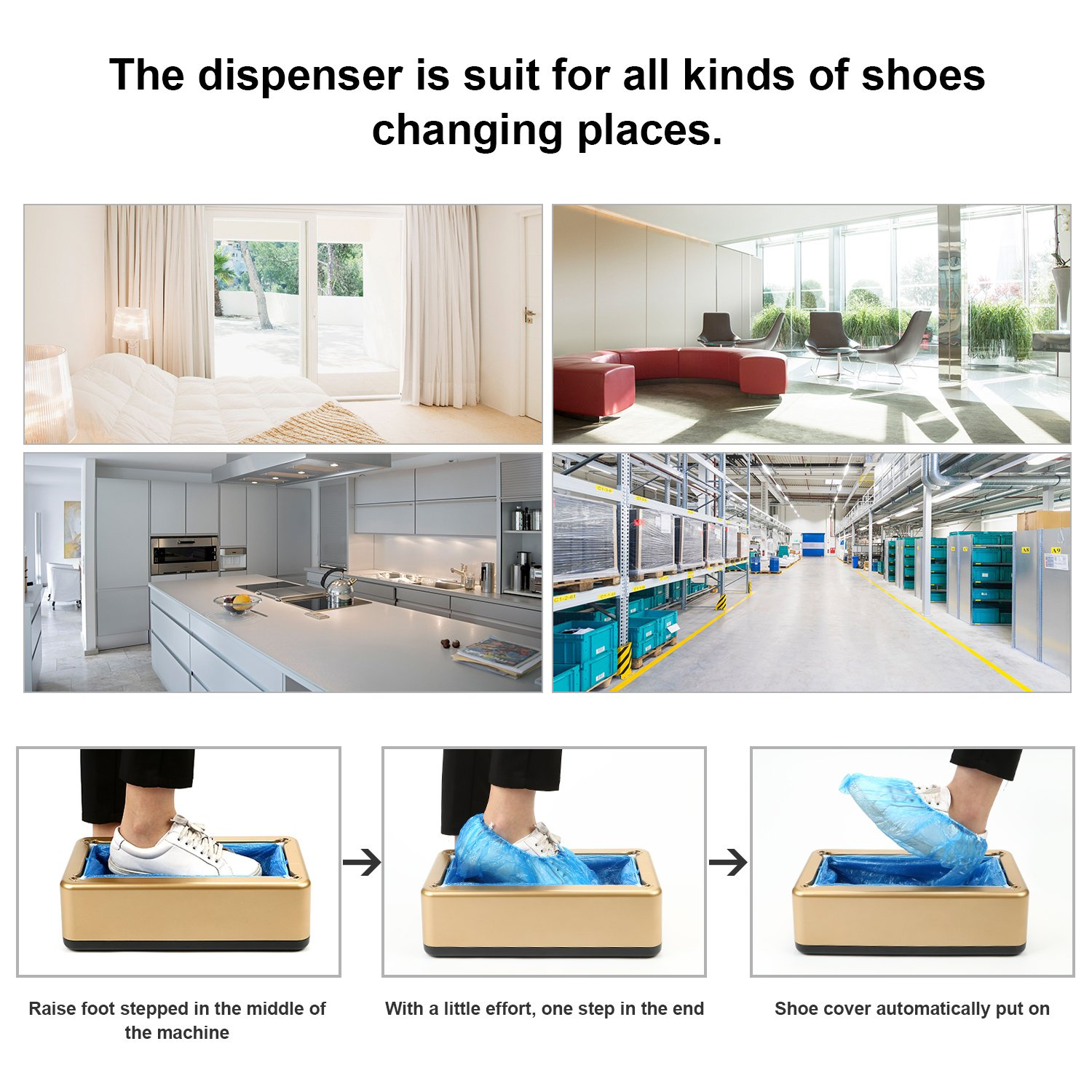 Shoe Cover Machine, RONRI Automatic Shoe Cover Dispenser with 200pc Disposable Slipcover, Portable Shoes Boot Cover Dispenser for Medical, Home, Shop, Office by RONRI (Image #8)