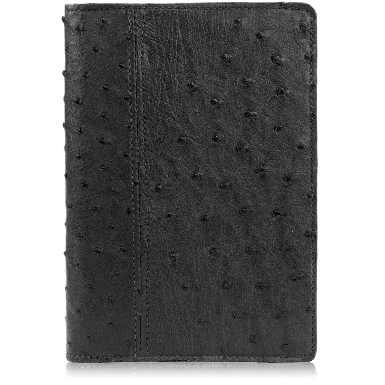 Genuine Ostrich Skin Leather Notebook Padfolio (Small, Black)