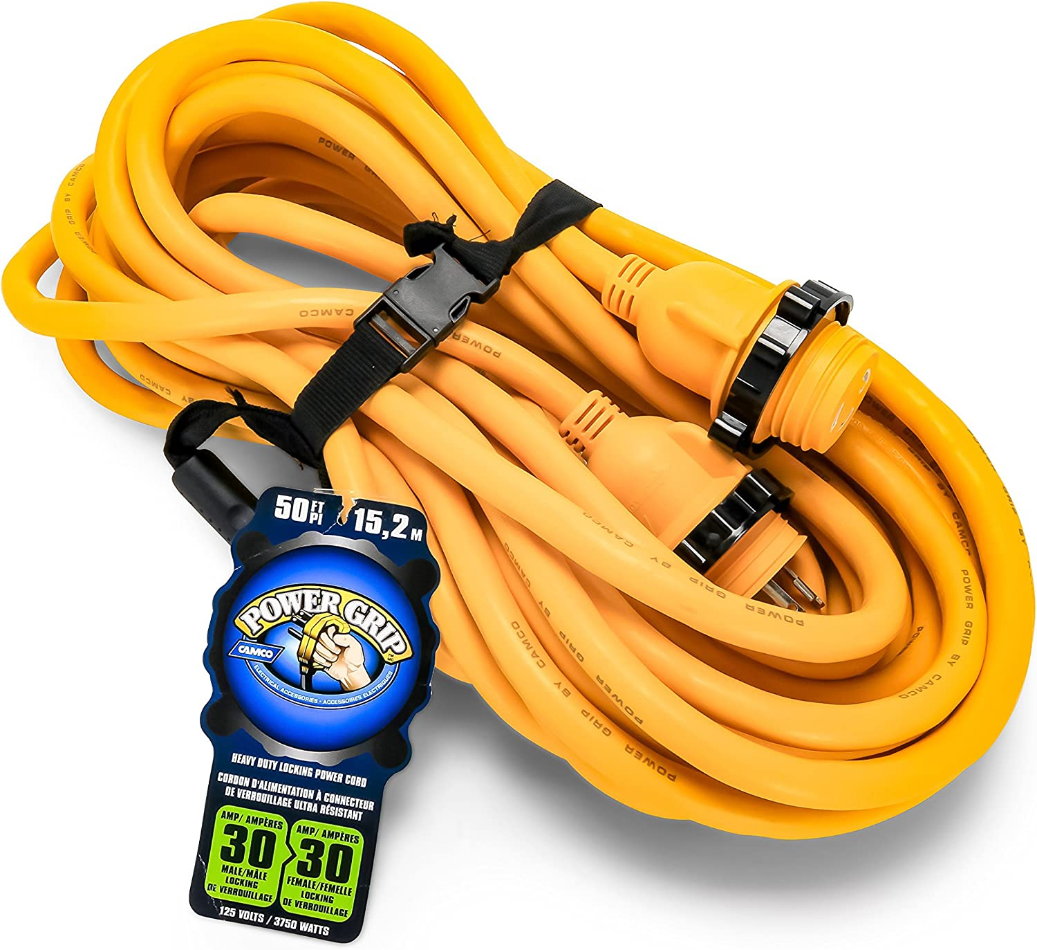 Camco 50' PowerGrip Marine Extension Cord with 30M/30F Locking Adapters   Allows for Easy Boat Connection to Distant Power Outlets   Built to Last (55613): Automotive