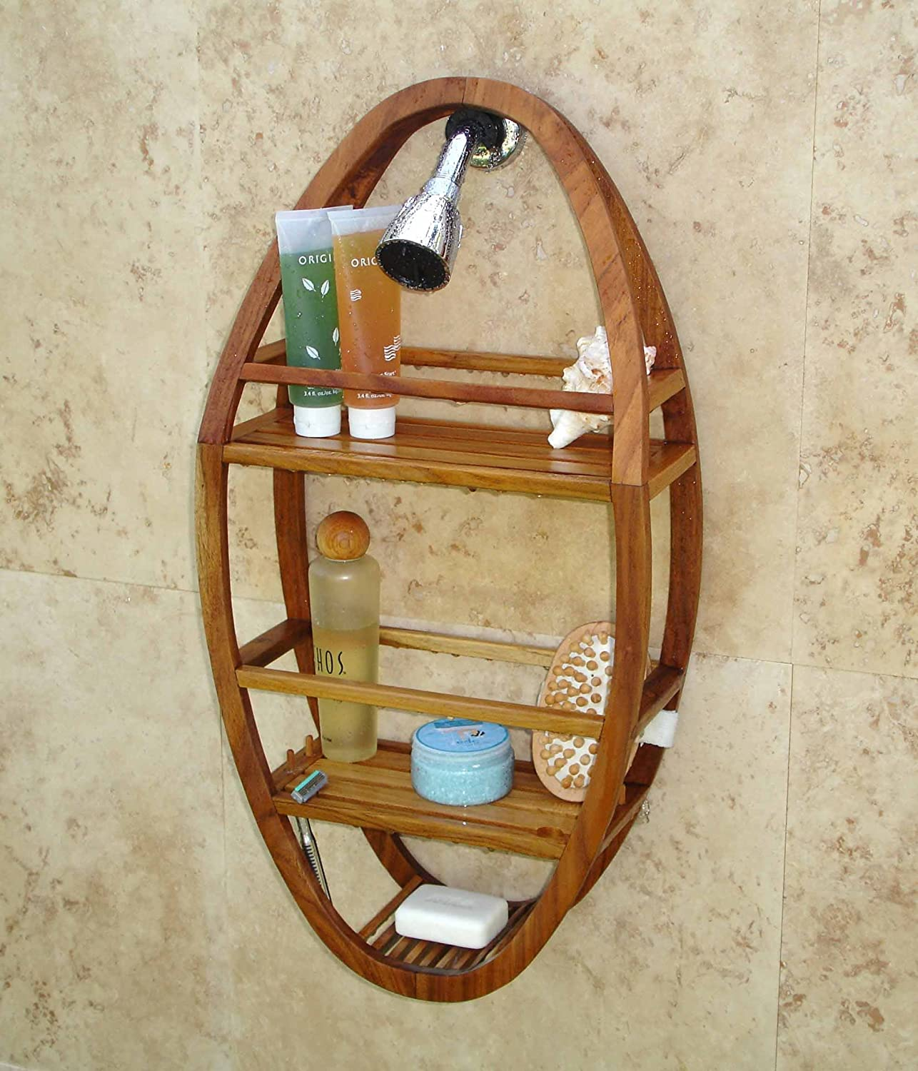 Amazon.com: Patented Moa Oval Teak Shower Organizer: Home & Kitchen