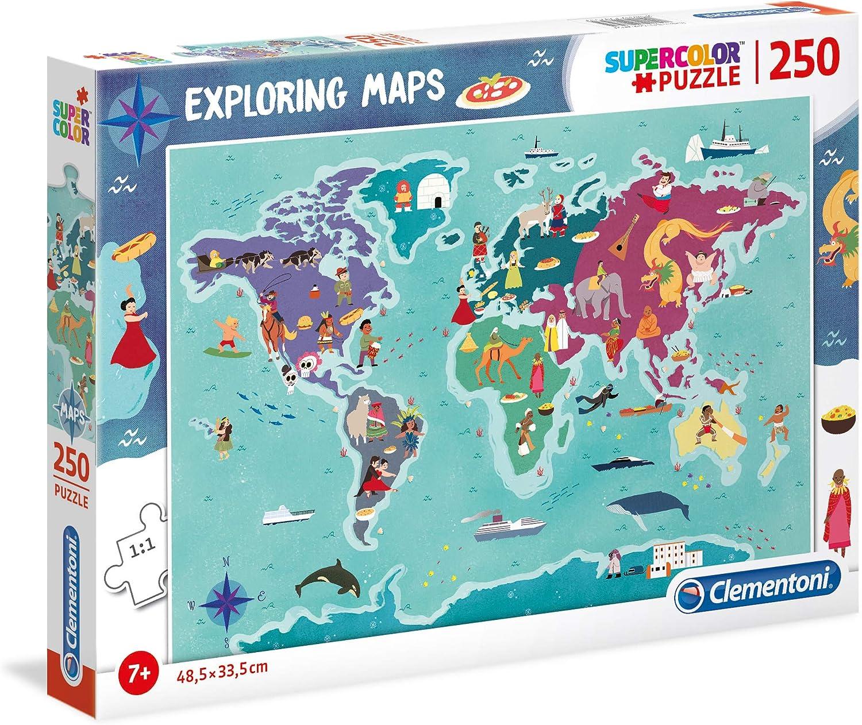 Clementoni- Puzzle Mapa 250 Piezas Mundo - Tradiciones (29064.2): Amazon.es: Juguetes y juegos