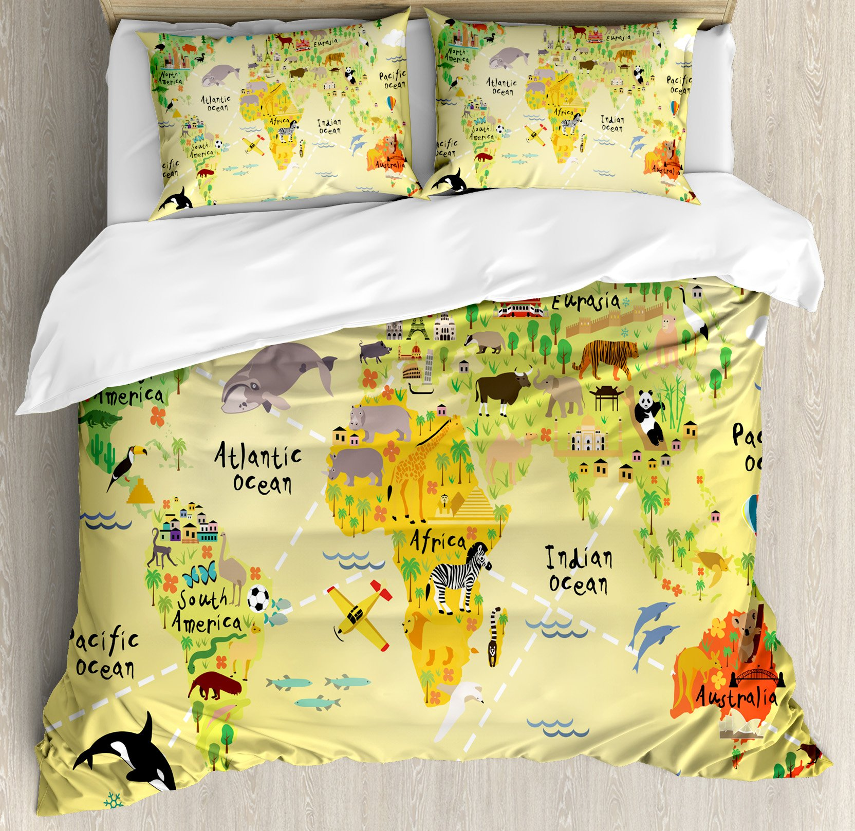 Kids Decor King Size Duvet Cover Set by Ambesonne, Educational World Map Africa America Penguins Atlantic Pacific Ocean Animals Australia Panda, Decorative 3 Piece Bedding Set with 2 Pillow Shams by Ambesonne
