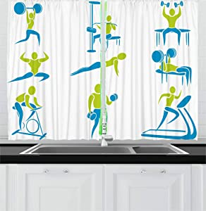 Ambesonne Fitness Kitchen Curtains, Showing Different Gym Activities Weightlifting Equipment, Window Drapes 2 Panel Set for Kitchen Cafe Decor, 55