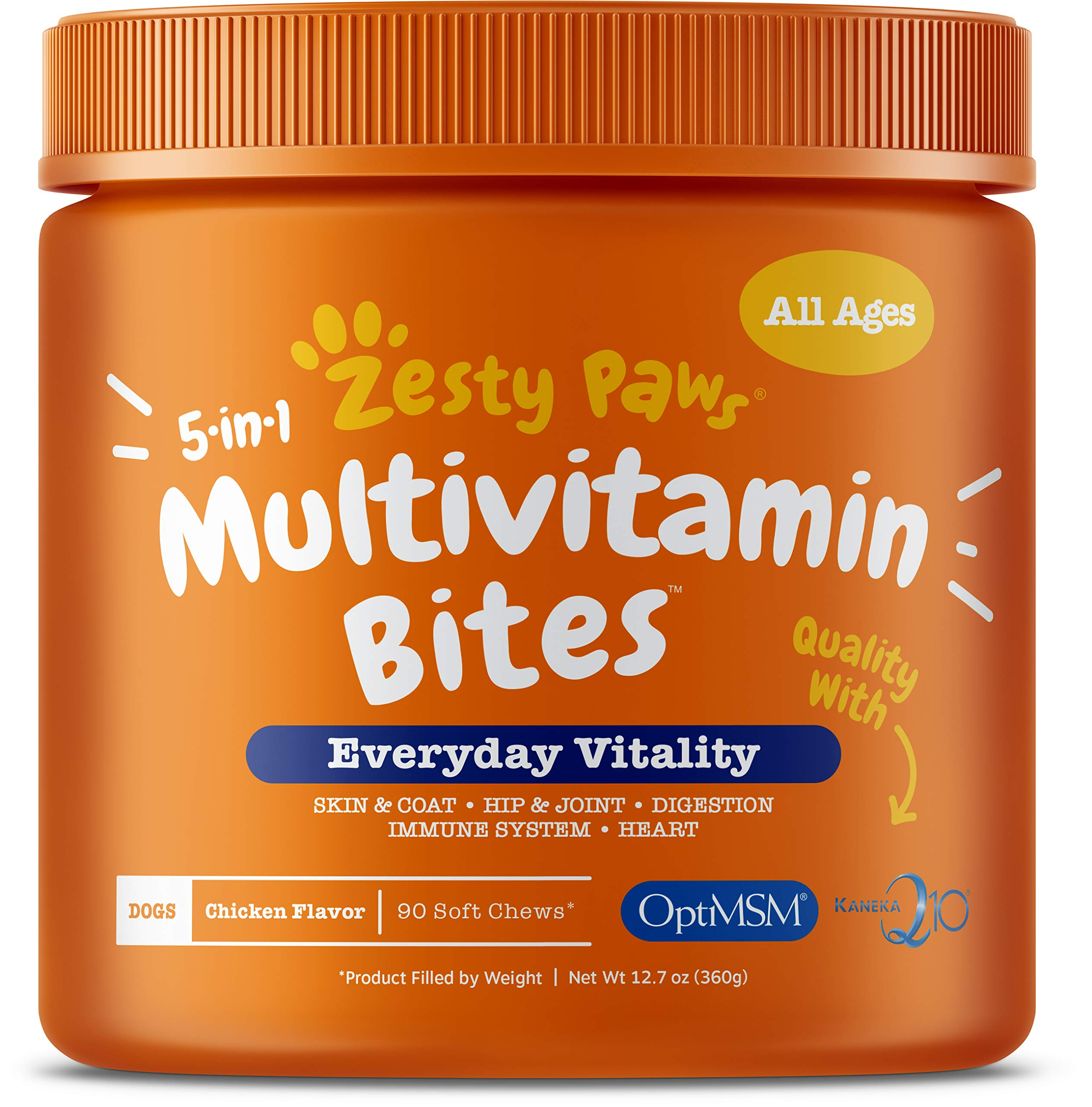 Zesty Paws Multivitamin Treats for Dogs – Glucosamine Chondroitin for Joint Support + Digestive Enzymes & Probiotics – Grain Free Dog Vitamin for Skin & Coat + Immune Health – Chicken Flavor – 90ct