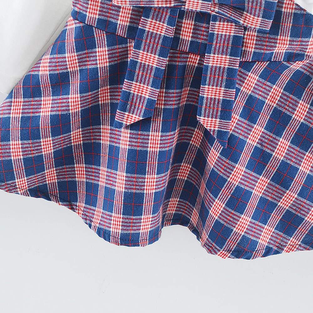 cinnamou Kind-Baby-M/ädchen-Lange H/ülsenstreifen-Bogen-Partei-Prinzessin Dress Tops,Cosplay Geburtstag Kleid Party Kleidung