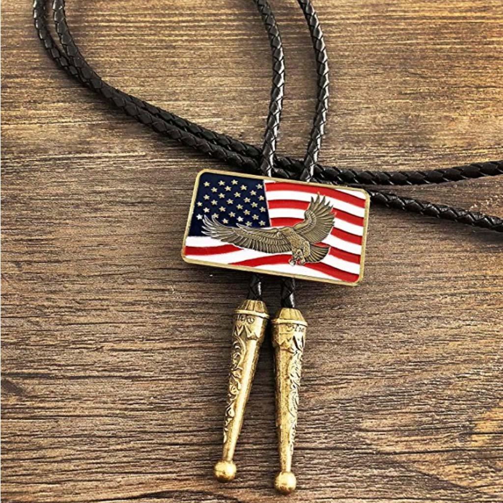 Prettyia Western Cowboy Native American Novetly Neckties American Flag Style Bolo Tie