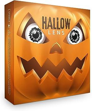 Hallowlens® Lentillas de Color Splitter + recipiente de lentillas. En blanco y negro, blandas, sin dioptrías pack de 2 unidades - cómodas y perfectas para Halloween, Carnaval, sin corregir: Amazon.es: Salud y