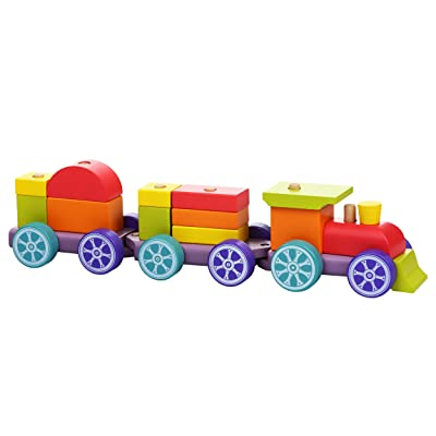 Cubika Classic Wooden Stacking Pull Along Train Set, 15 Pieces, Natural Beech Wood: Clothing