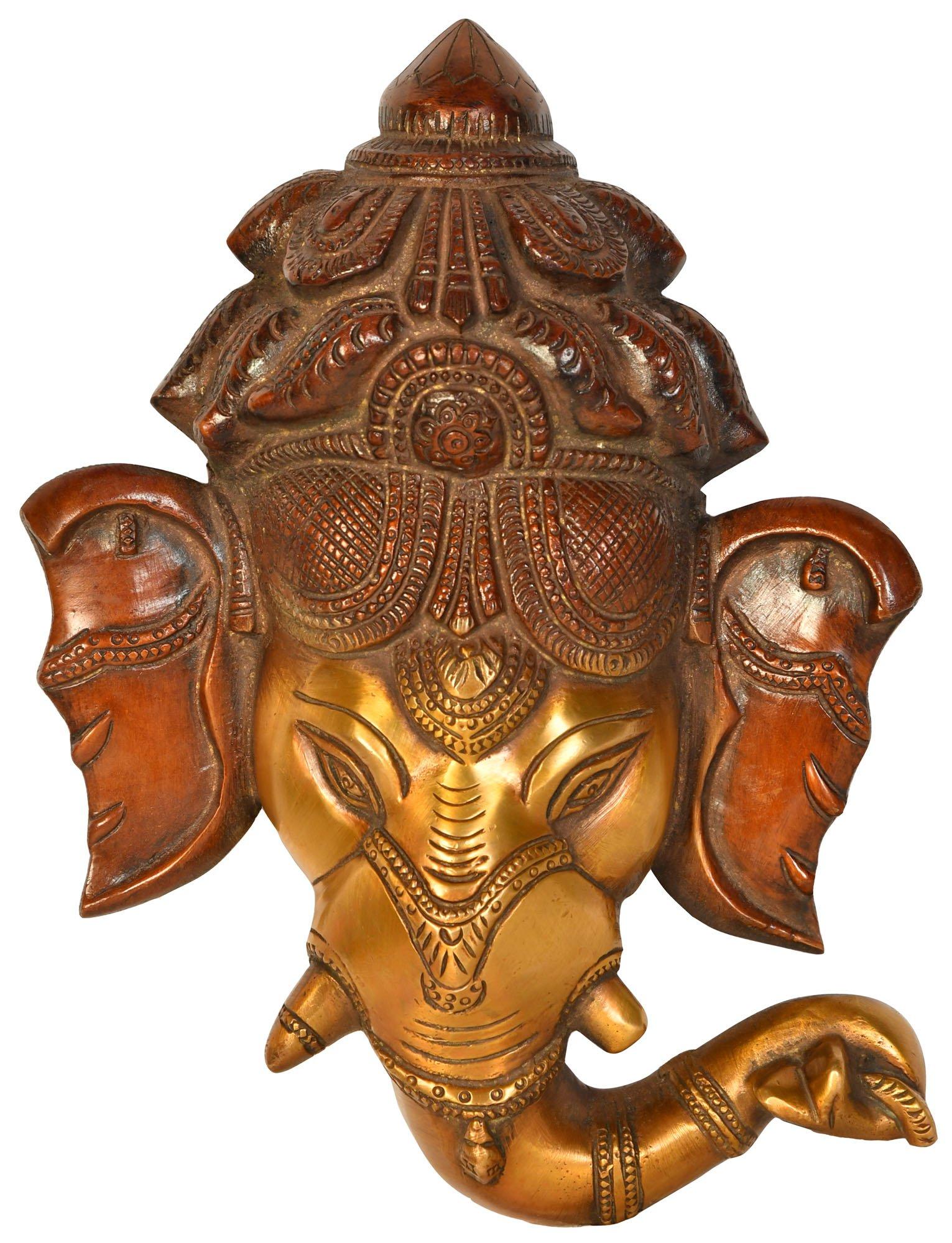 Ganesha Wall Hanging Mask - Brass Statue