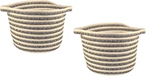 ZP Home Goods Cotton Rope Basket - Set of 2 for Kitchen, Bathroom, Laundry, Nursery, Craft, pet, Kids, Living Room, Closet, mud Room, Gift and Storage (Black)