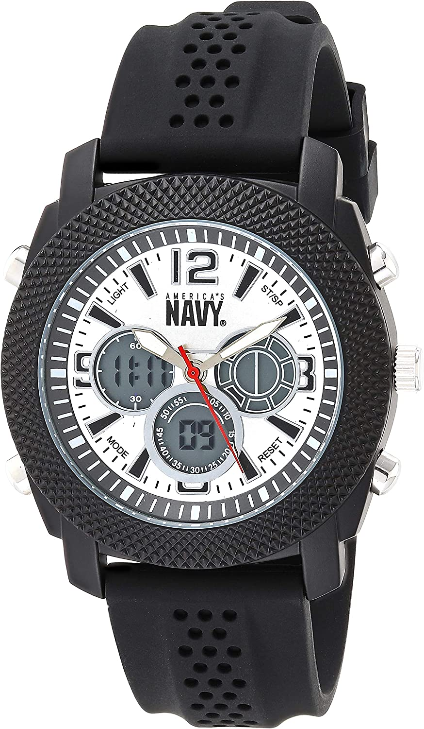 U.S. Military Men s Analog-Digital Chronograph Black Silicone Strap Watch by Wrist Armor