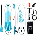 Inflatable Paddle Boards Stand Up: 10/11 feet SUP with Adjustable Paddle Backpack Pump Leash Fin Youth Adults Standup Paddleb