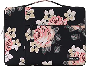 MOSISO 360 Protective Laptop Sleeve Bag Compatible with 13-13.3 inch MacBook Pro, MacBook Air, Notebook with Side Open Zipper, Polyester Rose Pattern Carrying Case Cover Briefcase Handbag, Black