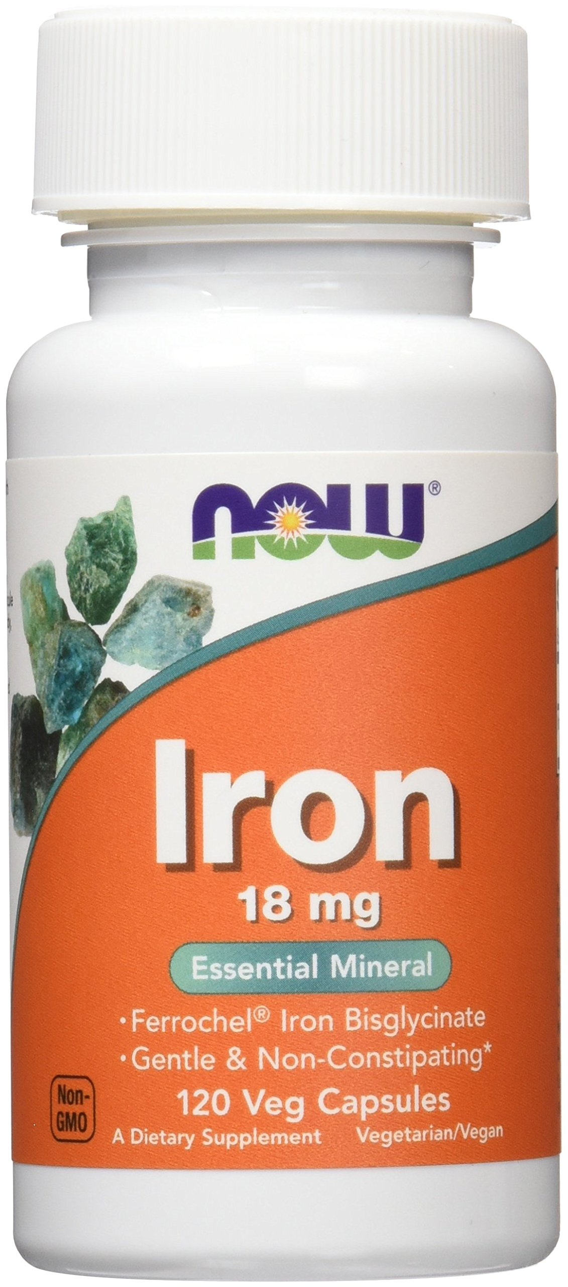 NOW Iron 18 mg,120 Veg Capsules