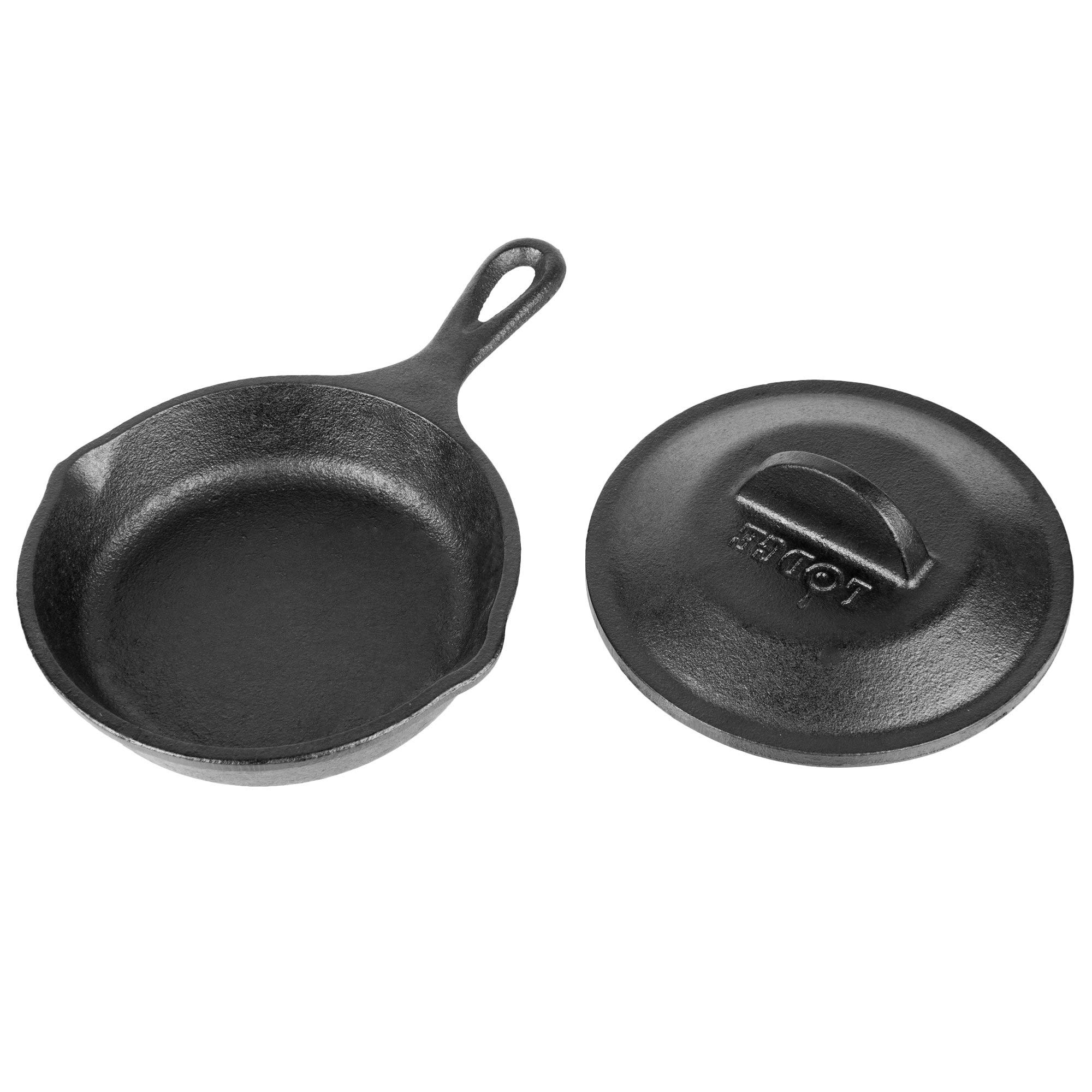 Lodge 5'' Round Pre-Seasoned Heat-Treated Cast Iron Individual Serving Skillet with Lid