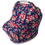 Nursing Cover, Car Seat Canopy, Shopping Cart, High Chair, Stroller and Carseat Covers for Girls- Best Stretchy Infinity Scarf and Shawl- Multi Use Breastfeeding Cover Up- Vintage Navy Floral Print