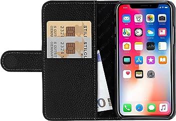 StilGut Housse iPhone XS & iPhone X Porte-Cartes en Cuir véritable à Ouverture latérale et Languette magnétique, Noir