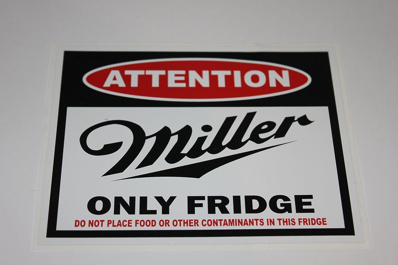 Attention Millerビール冷蔵庫デカールサイズ: 4.35 X 3 , 5