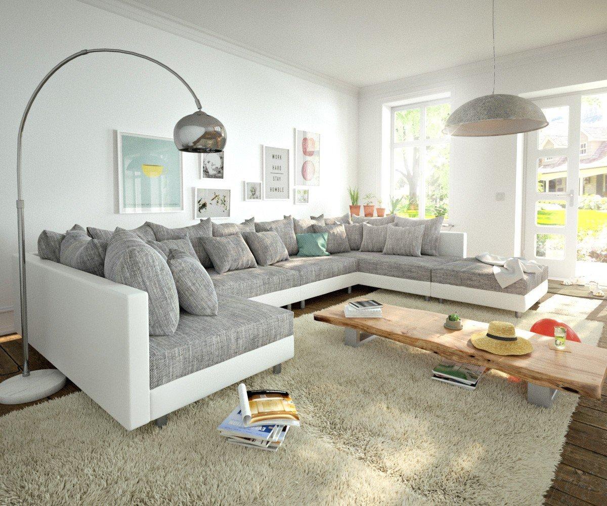 Couch Clovis Xl Weiss Hellgrau Mit Hocker Wohnlandschaft Modular Kaufen