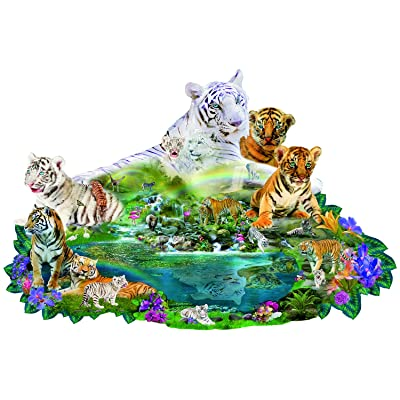 Tigers at The Pool 1000 pc Shaped Jigsaw Puzzle by SunsOut: Toys & Games