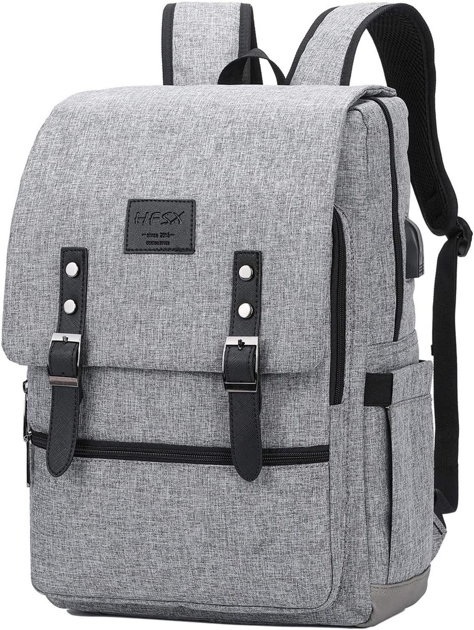 Vintage Backpack Anti Theft Laptop Backpack Men Women Business Travel Computer Backpack School College Bookbag Stylish Water Resistant Vintage Backpack with USB Port Fits 15.6 Inch Laptop Grey