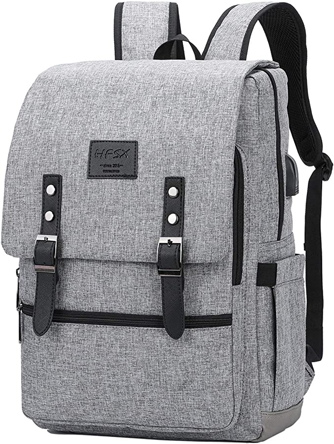 HFSX laptop backpack, anti theft canvas travel laptop case fits 15.6 inch waterproof college school bookbag for men