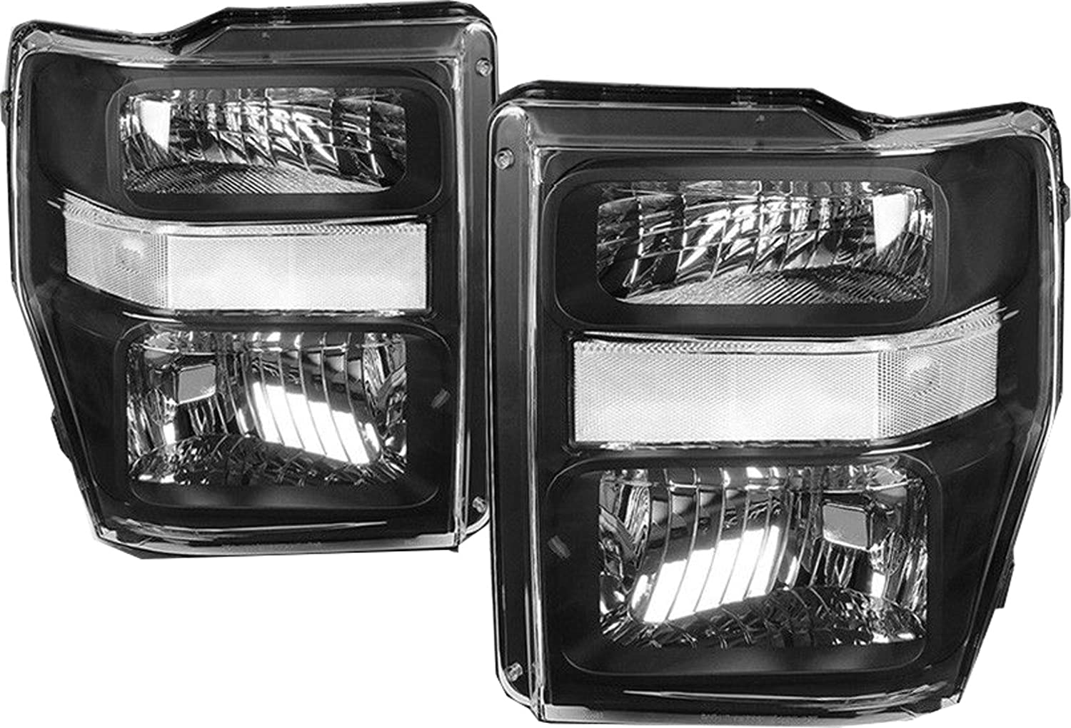 Pair,FO2502243,FO2503243 For 08-10 Ford F250 F350 F450 Super duty Headlight Assembly,OE Projector Headlamp,Black housing,
